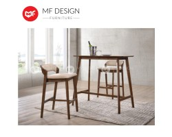 MF DESIGN Jonce Solid Bar Set for Apartment  Condo  House (1 Bar Table + 2 Bar Chair) [Full Solid Rubber Wood]